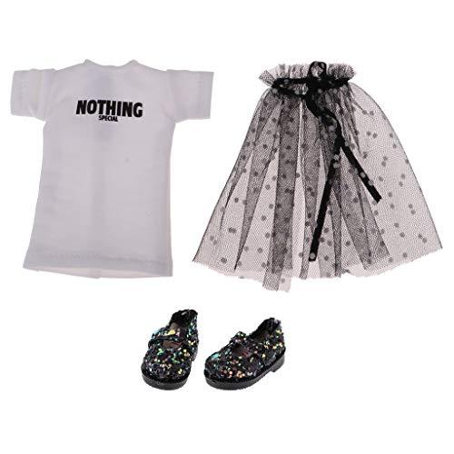 KESOTO Falda de Gasa con Camiseta de Muñecas 12 Pulgadas Accesorios de Moda