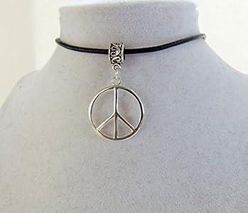 Collar con símbolo de la paz, hippia, hipster y retro, piel negra, regalos