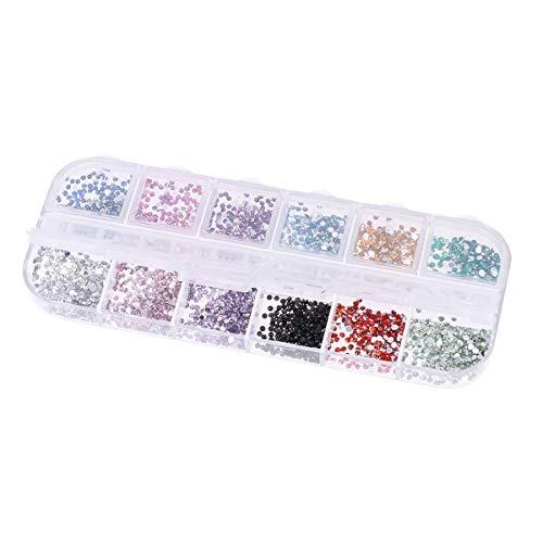 HZWLF Nail Art Tool, Nail Art Drop Acrylic Drill DIY Teardrop Round Diamond for Craft Jewelry Making (12 Color) 1200Pcs