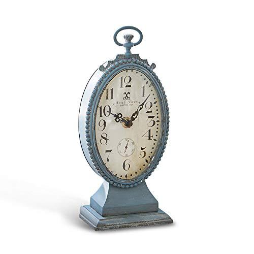 Loberon Uhr Michelet, MDF/Zinn/Glas, H/B/T ca. 26/12 / 7,5 cm, antikblau