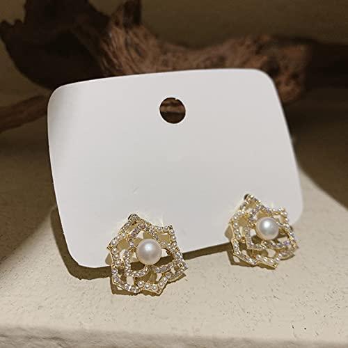 Pendientes Pendientes de Camelia Huecos Pendientes de Diamantes de imitación de Perlas Temperamento Retro Salvaje Simple Sra. Regalo de cumpleaños