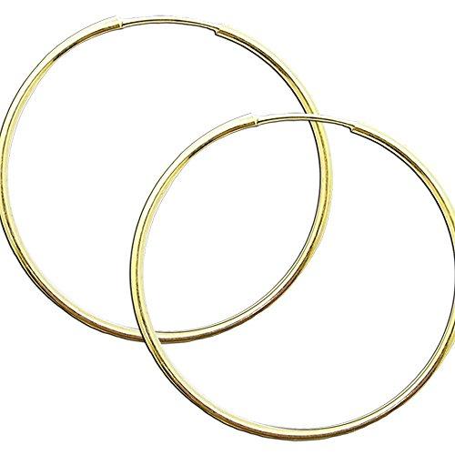 1 Paar Creolen Creole Ohr Ohrringe 925 Sterling Silber 24 Karat Gold Echt Schmuck Ohrschmuck Silberschmuck, Farbe:gold - 60 mm