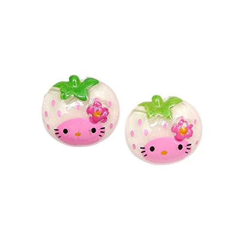 Idin orecchini a clip–gattino bianco fragola con effetto glitter orecchini (ca. 18x 18mm)
