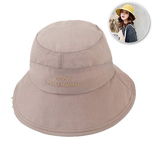 FZXHJ Solid Color Fischer-Hut, Damen-Sommermütze Mit Neuem Gestickten Buchstaben, UV-Schutzfaktor 50+,Khaki
