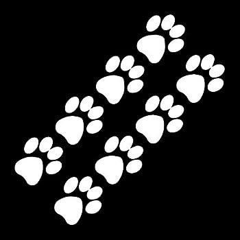 EvolveFISH Cat Paw Prints Silhouette Weatherproof Vinyl Decal - [White][5 ]