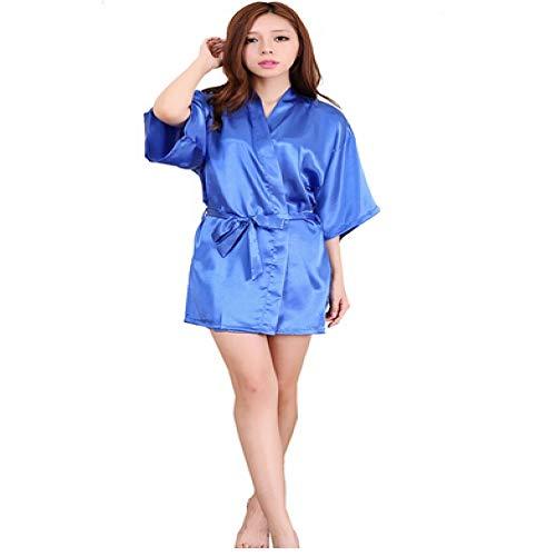 Handaxian Nuevo Traje de Dama de Honor de satén Vestido de Novia de Novia de Seda Artificial Blanca Vestido de Bata Kimono Albornoz como Muestra la Foto L
