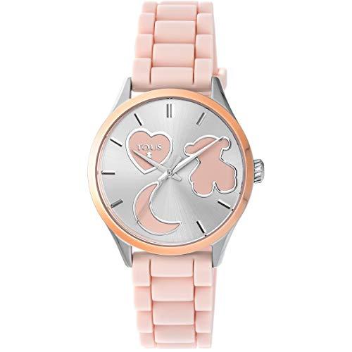 Reloj TOUS Sweet Power de acero IP rosado con correa de silicona rosa Ref:800350745