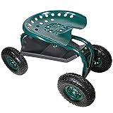 HELO Fahrbarer Gartensitz mit Rollen (bis 136 kg belastbar), Stahlgestell Garten Rollsitz mit ergonomischer Sitzfläche, 360° drehbar, höhenverstellbar, Profil Gummi Räder und Ablagefläche unterm Sitz