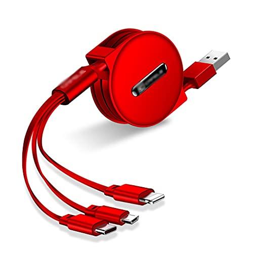 AWYST Cable Cable retráctil Multiusos 3-IN-1 LightningType CMICRO USB Cable de Carga...