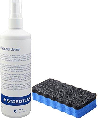 Staedtler 681 Lumocolor whiteboard Cleaner Reinigungsspray, 250 ml Reinigungsset mit Trockenlöscher blau