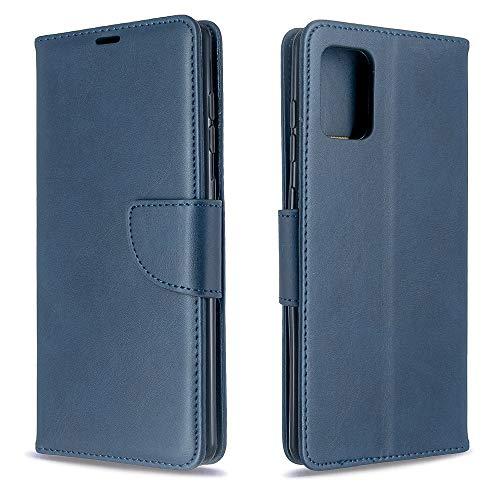 Runbiu Kompatibel mit Samsung Galaxy A71 Hülle, Premium PU-Leder Book Style Handyhülle TPU Bumper Flip Wallet Brieftasche Handyhülle Schutzhülle, Blau