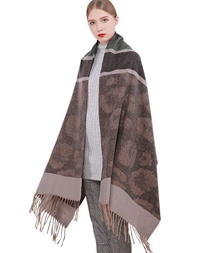 RIIQIICHY Sciarpa in lana cashmere da donna Scialle in pashmina Stola avvolgente Inverno caldo Spessa coperta Sciarpe oversize con nappa