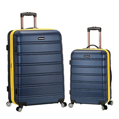 Rockland Melbourne Hardside Expandable Spinner Wheel Luggage, Navy, 2-Piece Set (20/28)