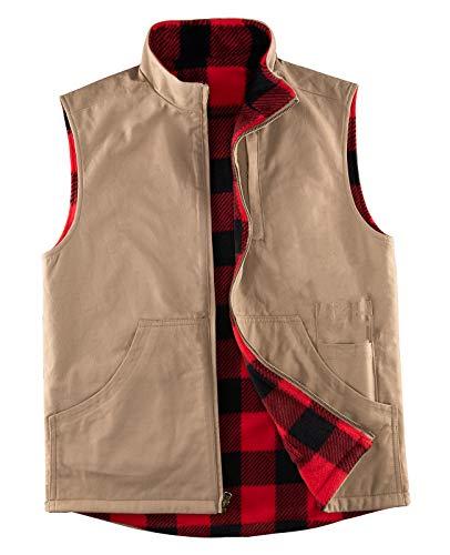 Men's Reversible Casual Cotton Vest Flannel Fleece Lined Outdoor Work Safari Fishing Travel Vest Jacket,Khaki M