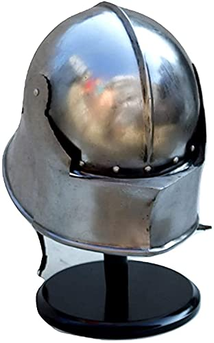 ZUBAIDA NTICALS Casco medieval alemán Sallet   Casco gótico cerrado   Disfraz de reincorporación espartano (casco gótico medieval usable) plateado