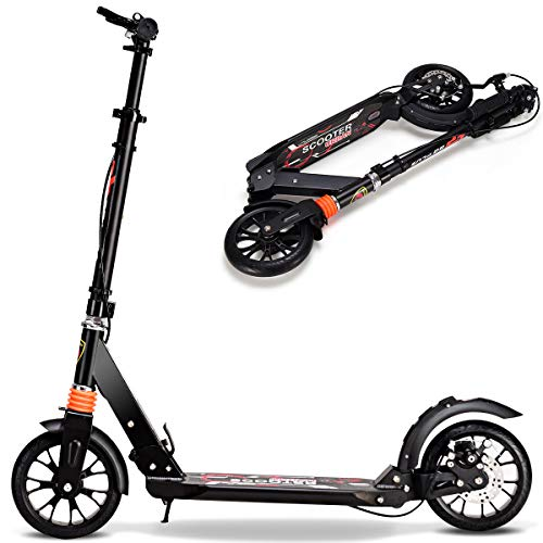 GOPLUS Scooter Erwachsene, City Roller Klappbar und Höhenverstellbar, Cityroller Kickscooter mit Handbremse, für Kinder ab 10 Jahre bis 100kg (Schwarz)