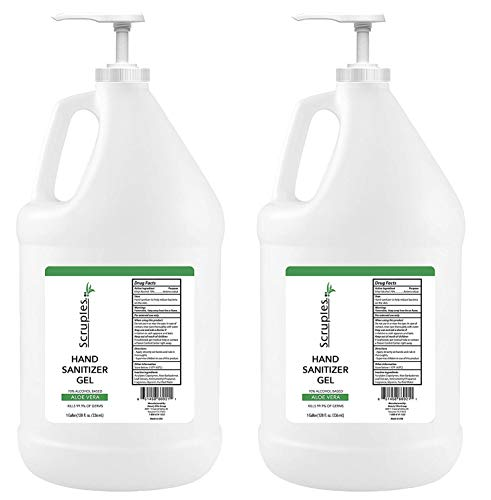 Hand Sanitizer with Aloe Vera – 70% Alcohol Based Liquid Sanitizer - Kills 99% Germs – Soothing & Moisturizing – Made In The USA - Clean Scent (1 Gallon Pack of 2)