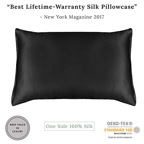 MYK SILK - 19MM- 100% Pure Natural(Mulberry) Silk Pillowcase with Cotton underside 300 Thread Count (Hidden Zipper) for Hair&Facial, 19 Momme Hypoallergenic,King Size(20