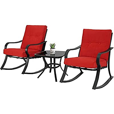 SOLAURA 3-Piece Outdoor Rocking Chairs Bistro Set, Black Steel Patio Furniture with Red Thickened Cushion & Glass-Top Coffee Table