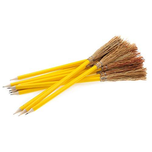 Mendi 6 Bleistift Besen - 26 cm - Farbe Gelb