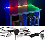 Lunartec Glaskantenbeleuchtung: LED-Glasbodenbeleuchtung mit Fernbedienung: 6 Klammern mit 18...