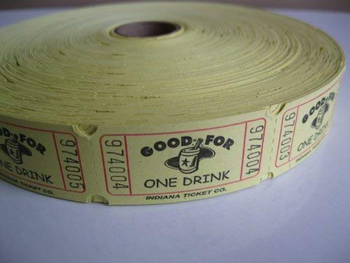2000 Yellow Good For One Drink Single Roll Raffle Tickets