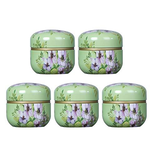 Exceart Mini-Tee-Vorratsbehälter 5-Teilige Teedose mit Deckel Tragbare Leere Kisten Blumenmuster Versiegelter Lebensmittelkanister für für Kaffee Kräuter Süßigkeiten Schokolade Zucker Gewürze Kerze