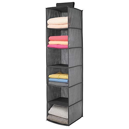 mDesign Estantería Colgante de Fibra sintética con 6 estantes – Organizador de Tela para Colgar en el Dormitorio Colgador de Armario para Ropa, Cinturones y Bolsos – Gris y Negro