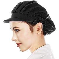 Cityelf Gorro de Cocinero Ajustable Sombrero para cocinar y restaurante Gorra para trabajo patissier cocina red de sombrero Mujer blanco (negro)