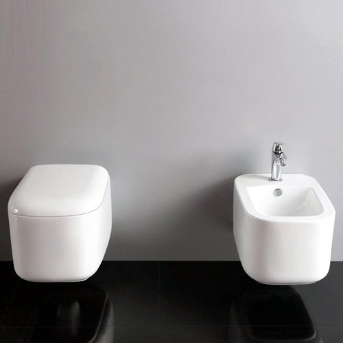 Bagno Italia Sanitari bidet e wc bagno sospesi in ceramica moderno chiusura soft close disponibile con o senza staffe I