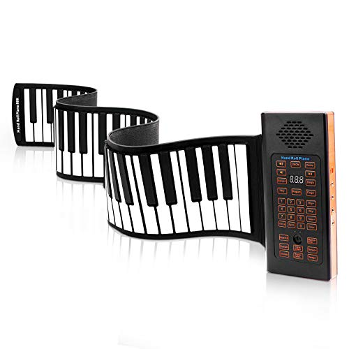 KPP Portable Keyboard Piano, Roll Up 88 Keys Electronic Keyboard Flexible Silicone with Bluetooth Microphone Rechargeable Battery for Beginners Kids Adults Gift