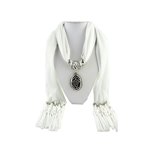 White Scarf Shawl Silver Vintage Iced Out Flower Necklace Pendant Jewelry