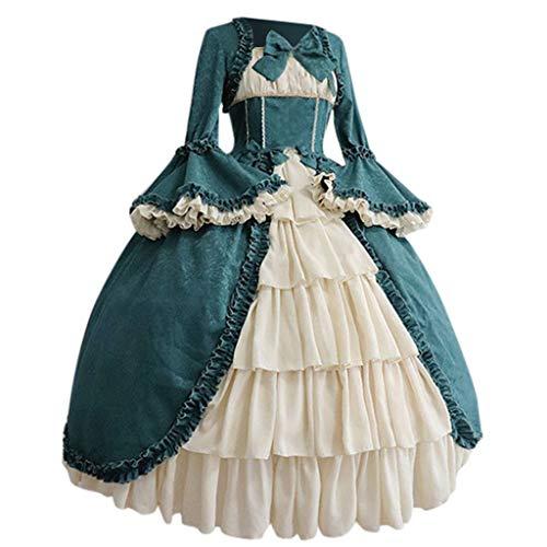 Abito da donna, stile medievale, retrò, con cuciture, a trapezio, alla moda, per Halloween, carnevale, vintage, gotico, scollatura squadrata, patchwork, fiocco e volant Blu. M