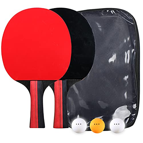 Dibiao Raqueta de Ping Pong Juego de 2 Raquetas de Tenis de Mesa de Goma con 3 Bolas de Entrenamiento de Raqueta Recreativa Kit con Bolsa de Almacenamiento Negro
