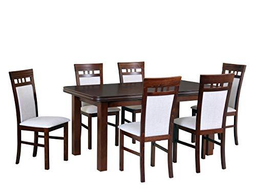 Mirjan24 Esstisch mit 6 Stühlen DM43, Sitzgruppe, Küchentisch, Esstischgruppe, Esszimmer Set, Esstisch Stuhlset, Esszimmergarnitur, DMXZ (Nuss/Nuss Inari 22)