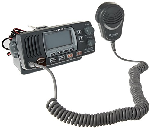 Cobra MR F77B GPS Fixed Mount VHF Marine Radio – 25 Watt VHF, Built-In GPS Receiver, Submersible, LCD Display, Noise Cancelling Mic, NOAA Weather, Signal Strength Meter, Scan Channels, Black