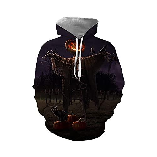 Sudaderas unisex de Halloween con capucha suéter con capucha de manga larga impresa jumpers 3D Graphic Fashion Realista Sportswear con bolsillo frontal grande, A-morado., M