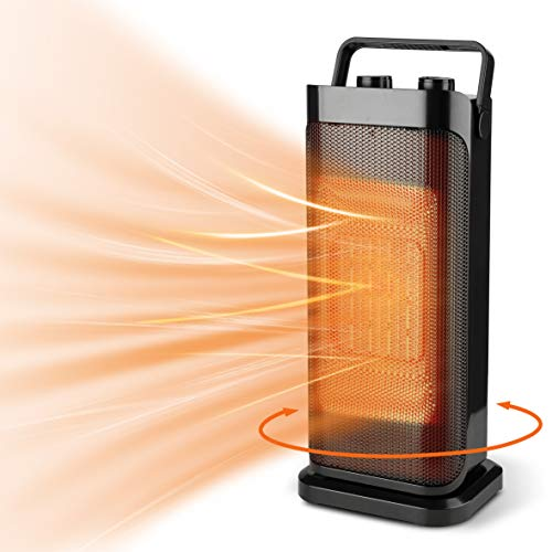 Portable Tower Heater with Thermostat and Widespread Oscillation, Safe and Quiet Portable Electric Space Heaters for Indoor Use, Under Desk Heaters for the Home