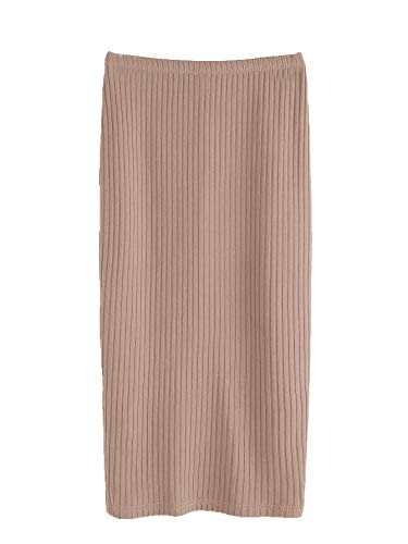 SheIn Women's Basic Plain Stretchy Ribbed Knit Split Full Length Skirt Khaki Medium