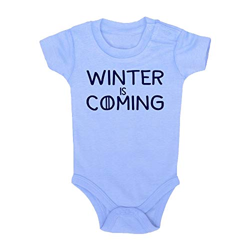 Body bebé Winter is Coming. Juego de Tronos, Game of Thrones, Logo Comic Fant Art Parodia. Bebé Friki. Manga Corta. (Azul, 3 Meses)