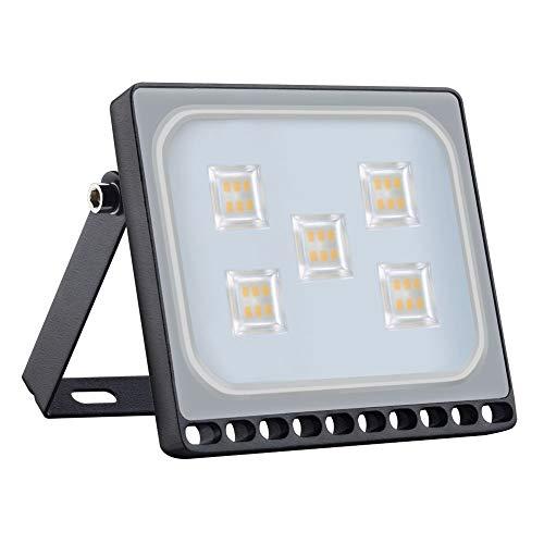 Proyector LED para exteriores, reflector IP65, diseño ultradelgado y ultraligero para jardín, jardín, terraza, cuadrado [Clase de eficiencia energética A ++] (30W, Blanco Cálido)