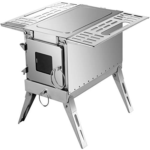 Happybuy Tent Wood Stove 18.3x15x14.17 inch, Camping Wood Stove 304 Stainless Steel With Folding...