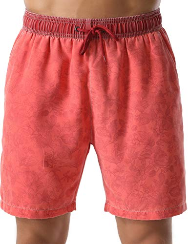 Nonwe Men's Beachwear Flower Print Relaxed Fit Soft Washed Swim Trunks Red 36