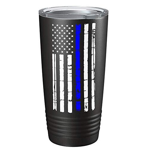 Thin Blue Line Flag - Police Law Enforcement PD Gift for Academy Graduation on Black Matte 20 oz Tumbler