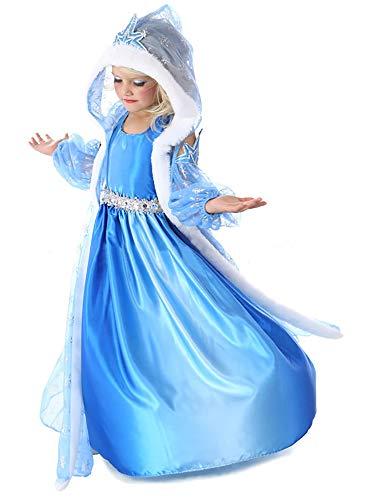Eleasica Regalo Niña Princesa Azul Vestido formal liso para Nina Boda Casual Cena familiar Cosplay Princesa Elsa Frozen con Capucha Manga estampado Copo de nieve Disfraz de Invierno Carnaval Halloween