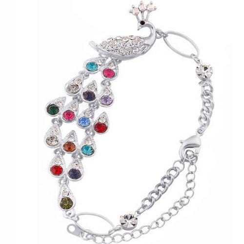 JewelryWe Schmuck Damen Bunte Kristall Pfau Armreif Armband Jahrestag Party Farbe Silber
