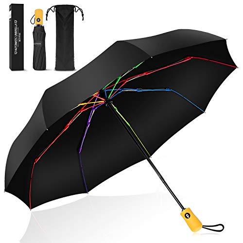 Ombrello Pieghevole Portatile Automatico Antivento, BESTKEE Ombrello da Viaggio compatto Asciugatura veloce con Auto Apri/Chiudi pulsante, impugnatura