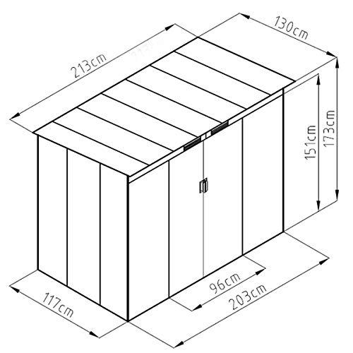 SVITA P100 Metall Gerätehaus 213×130×173cm Geräteschuppen Schuppen Gartenhaus Outdoor dunkelgrau anthrazit