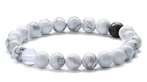 Hamoery Men Women 8mm Tiger Eye Stone Beads Bracelet Elastic Natural Stone Yoga Bracelet Bangle(Simulated Howlite)