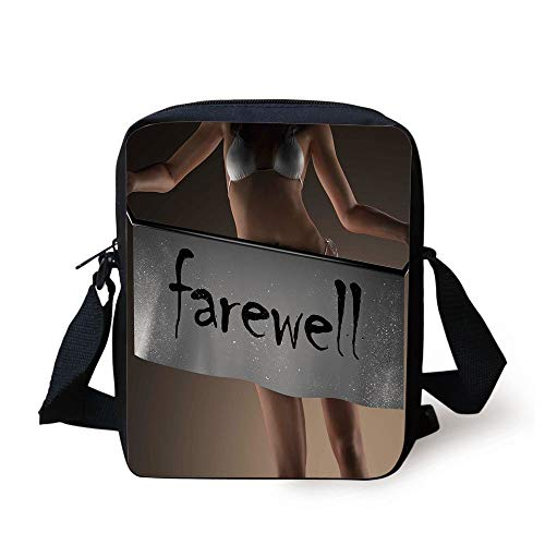 FAFANIQ Going Away Party Decorations,Sexy Bikini Model Woman Holding Farewell Word on Banner,Grey Brown Black Print Kids Crossbody Messenger Bag Purse